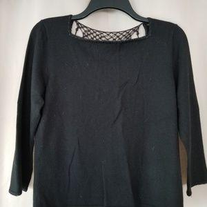 Black Dana Buchman Sweater with Crochet Open Back.